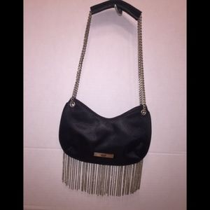 Xoxo Black satin fringe purse